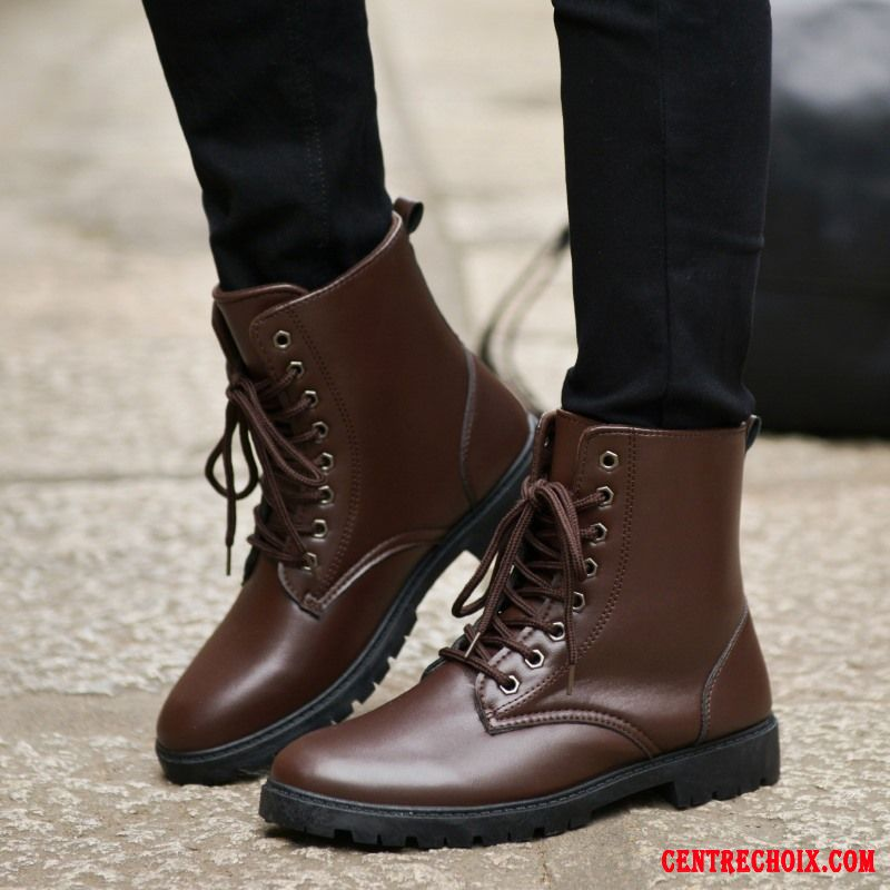 bottines cuir noir boots lacets homme marine motor city. Black Bedroom Furniture Sets. Home Design Ideas