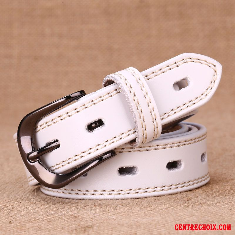 Ceinture Femme Simple Pure Le Nouveau Cuir De Vache All-match Jeans Blanc