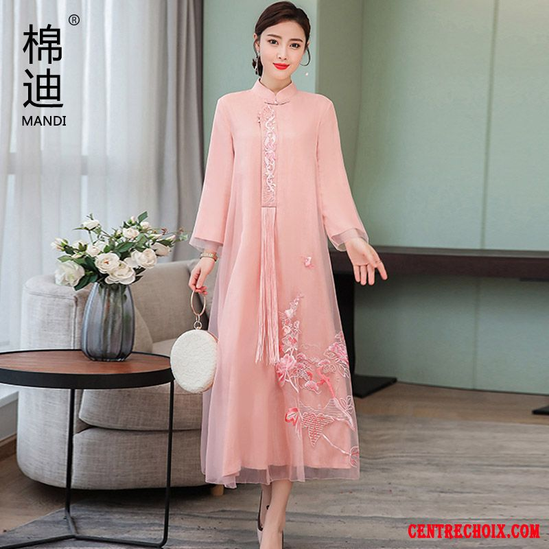 Robes Femme Style National Printemps Cheongsam Art Longue L'automne Rose