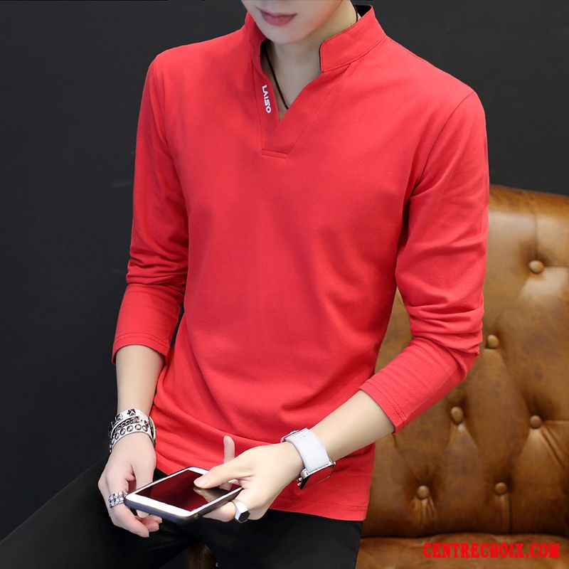 T-shirt Homme Printemps Chemise En Bas Slim Manteau Beau T-shirt Long Rouge