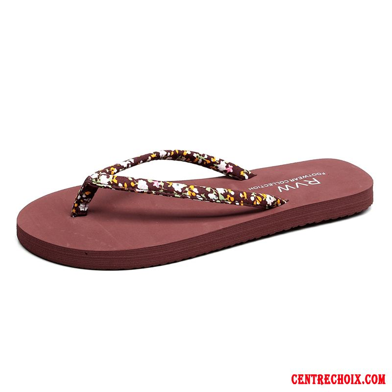Tongs Femme Outwear Plage Antidérapant Flats Simple Tongs Chaussons Marron